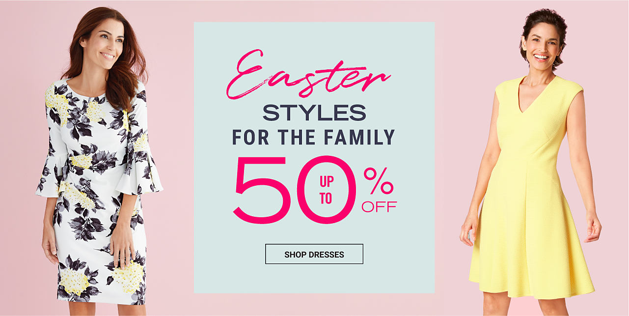 A woman wearing a white short-sleeved dress with a multi-colored floral print. A woman wearing a black sleeveless dress with a a multi-colored floral print. Easter Dresswear for the Family. Up to 50% off. Shop dresses.