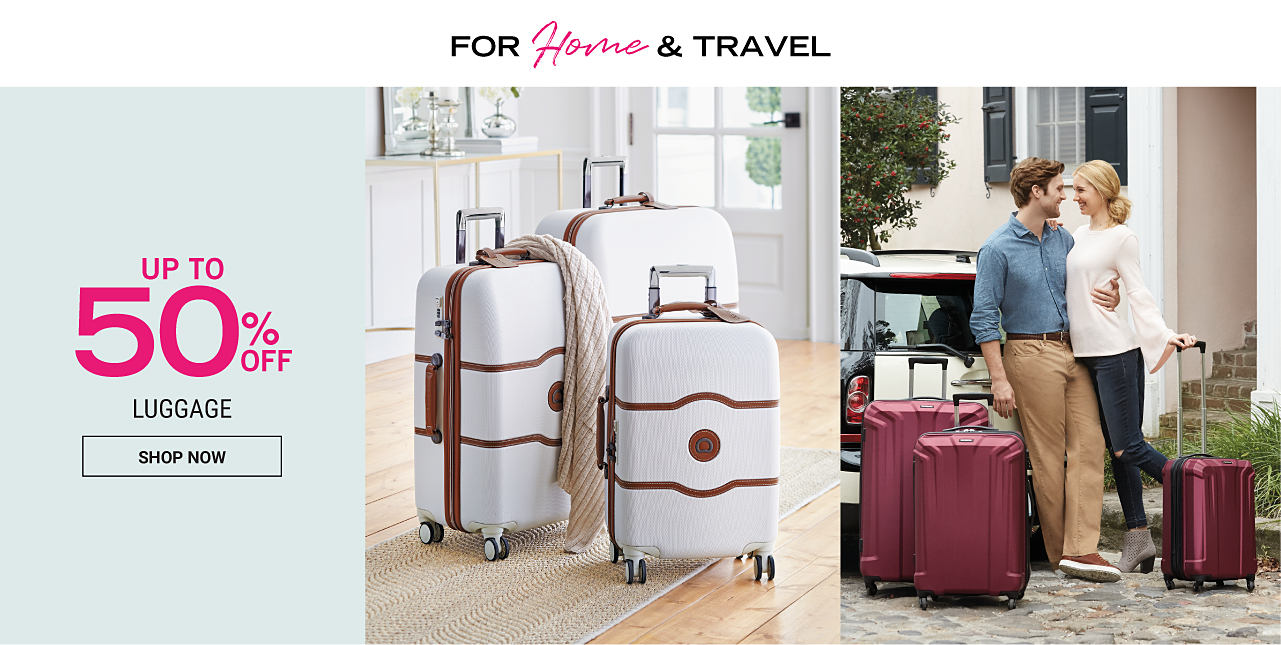 A white 3 piece wheeled luggage set with brown trim. A man & a woman getting ready to load a burgundy 3 piece hardside luggage set into the car. Up to 50% off luggage. Shop now.