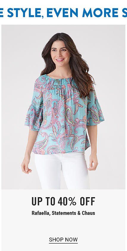 A woman wearing a teal, pink, black & white paisley peasant top & white pants. Up to 40% off Rafaella, Statements & Chaus. Shop now.
