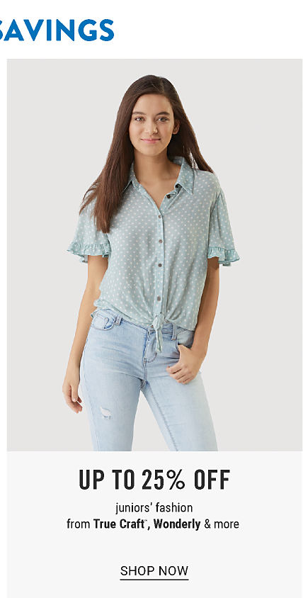 A young woman wearing a gray & white patterned print short sleeved button front blouse & blue jeans. Up to 25% off juniors fashion from True Craft, Wonderly & more. Shop now.