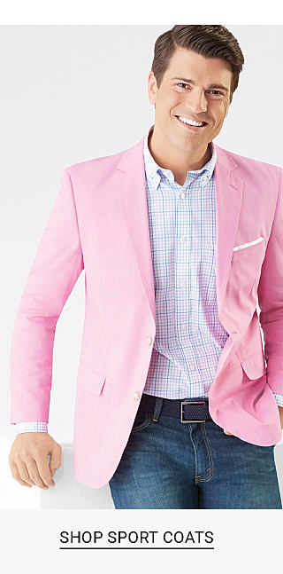 A man wearing a pink sport coat, a white, blue & red check long sleeved button front shirt & blue jeans. A man wearing a blue suit, a white dress shirt & a navy, light blue & gray striped tie. Up to 40% off sport coats, suit separates & dress shirts from Lauren, Saddlebred, Crown & Ivy & more. Shop sport coats. Shop suit separates. Shop dress shirts.