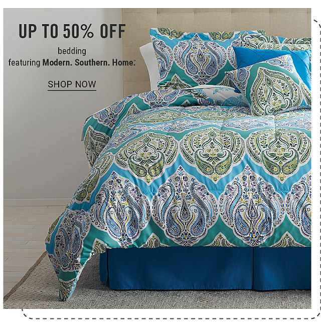 A bed made with a mult colored floral print comforter & matching pillows. Up to 50% off bedding featuring Modern Southern Home. Shop now.