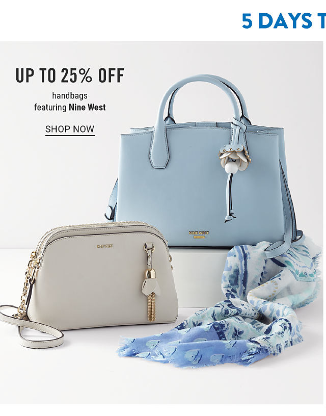 5 Days to Save. A powder blue leather handbag & a gray leather clutch. Up to 25% off handbags featuring Nine West. Shop now.