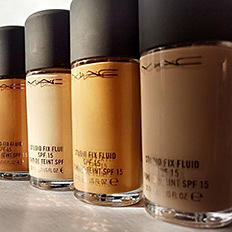 A variety of bottles of foundation. Shop foundation.