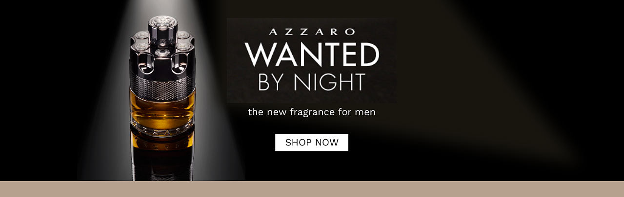 A bottle of men's fragrance. Azzaro Wanted by Night, the new fragrance for men. Shop now.