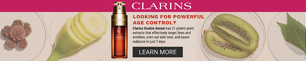 A variety of fruit and ingredients and a bottle of clarins double serum. Clarins. Looking for powerful age control? Clarins Double Serum has 21 potent plant extracts that effectively target lines and wrinkles, even out skin tone, and boost radiance in just 7 days. Learn More.