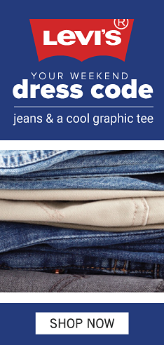 An assortment of denim and khaki pants stacked together. Levi's. Your weekend dress code. Jeans and a cool graphic tee. Show now.