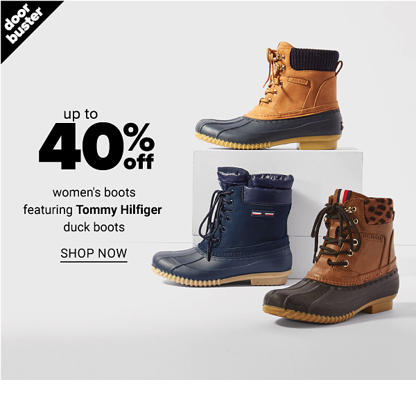 Up to 40% Off women's boots featuring Tommy Hilfiger duck boots - Shop Now
