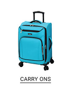 A light blue wheeled suitcase. Shop carry ons.