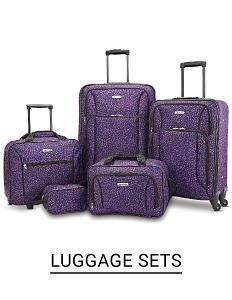A purple 5 piece luggage set. Shop luggage sets.