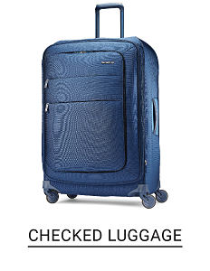 A blue wheeled suitcase. Shop checked luggage.