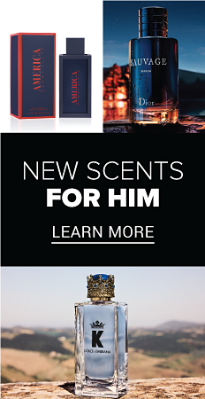 An assortment of cologne bottles. New Scents for Him. Learn more.