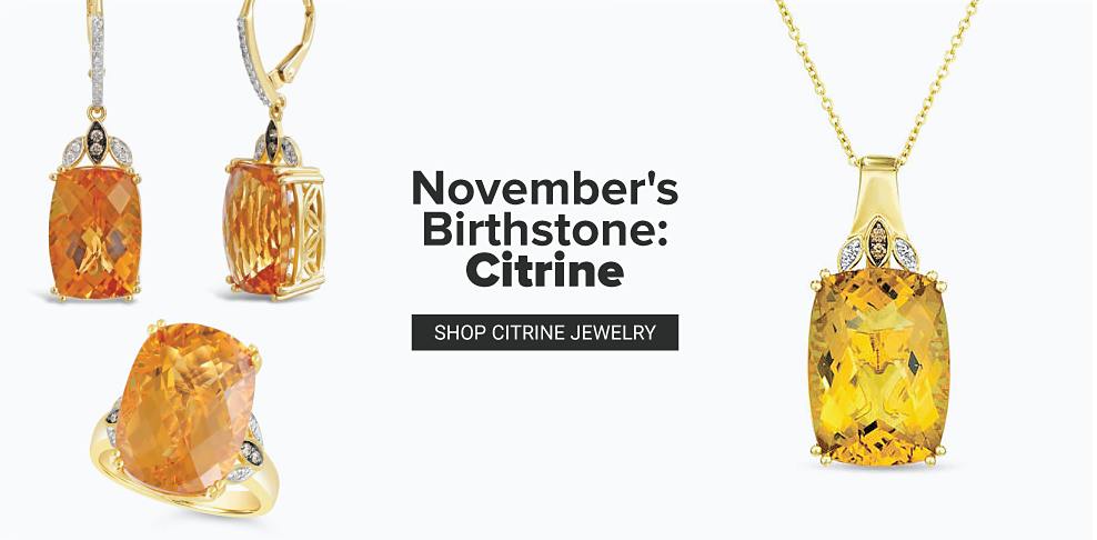 Gold citrine drop earrings with diamond accents. A gold citrine ring with diamond accents. A gold citrine pendant with diamond accents. November's birthstone citrine. Shop citrine jewelry.