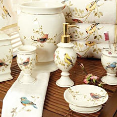 An assortment of bird-themed bathroom accessories. Shop bathroom accessories.