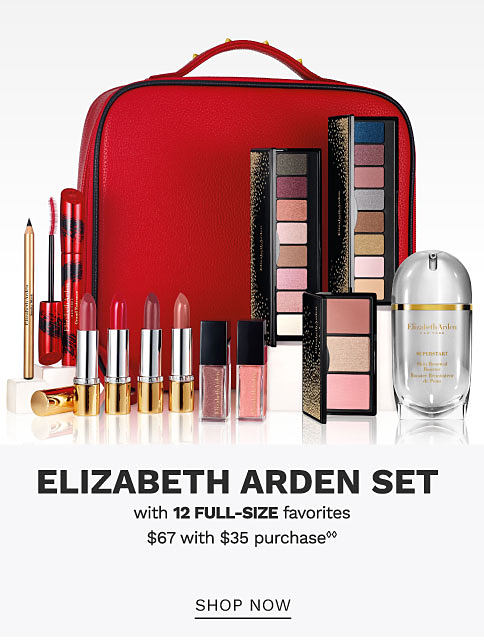 A beauty bag and a variety of beauty products. Elizabeth Arden set with 12 full size favorites $67 with $35 purchase. Shop now