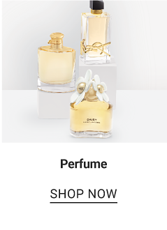 Three different perfume bottles on risers. Perfume. Shop now.
