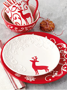 Red & white holiday-themed plates, bowls & mugs. Shop dinnerware.