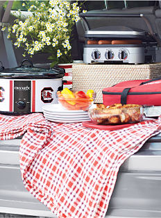 A collegiate crockpot, a protable grill & other various tailgating supplies. Shop fan gear.