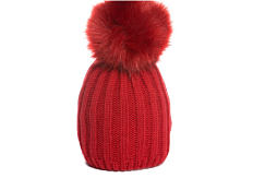 A red knit winter hat with a pom-pom on top. Shop hats.