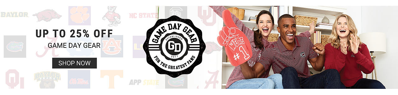 2 women and a man wearing team apparel as they cheer. Up to 25% off game day gear. Game day gear for the greatest fans. Shop now.