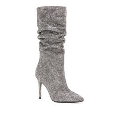 A gray suede high-heeled boot. Shop boots.