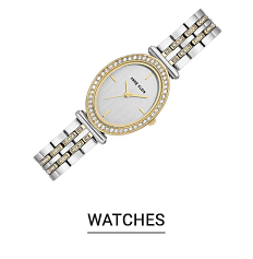 A silver and gold watch. Shop watches.