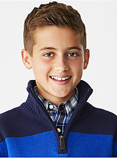 A boy wearing a multi-colored plaid button-front shirt & a navy & blue quarter-zip fleece.. Shop boys 8-20.