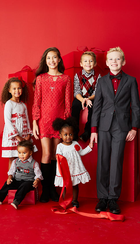 2 boys & 4 girls wearing various styles of holiday dresswear. Holiday Dresswear. Shop now.