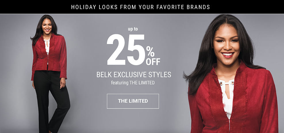 A woman wearing red blazer, white blouse & black pants. Holiday Looks from Your Favorite Brands. Up to 25% off Belk exclusive styles featuring The Limited. Shop The Limited.