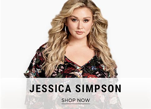 A woman wearing a multi-colored floral print top. Jessica Simpson. Shop now.