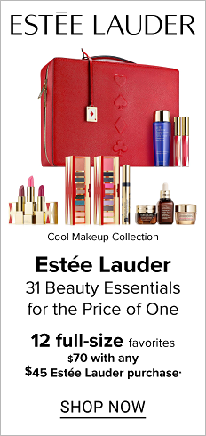 An assortment of Estee Lauder beauty products & a red makeup case. Cool Makeup Collection. Estee Lauder. 31 beauty essentials for the price of one. 12 full size favorites. $70 with any $45 Estee Lauder purchase. Shop now.