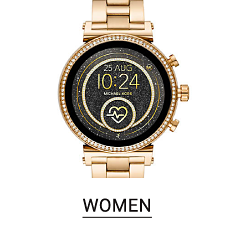 A gold tone women's watch with a black dial. Shop women's watches.
