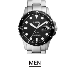 A sivler tone men's watch with a black dial. Shop men's watches.