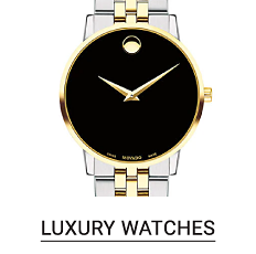 A silver & gold watch with a black dial. Shop luxury watches.