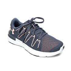 A navy & white Under Armour athletic shoe. Shop shoes.