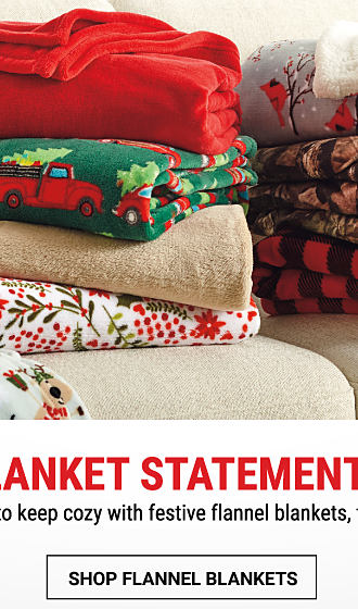 2 stacks of folded holiday-themed blankets & throws. Shop flannel blankets.