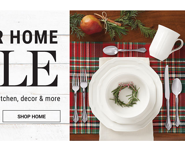 A formal place setting on a dining table decorated for Christmas. Winter Home Sale. Save on bed, bath, kitchen, decor & more. Shop home.