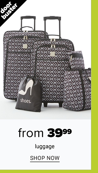 A 5 piece gray & white patterned print luggage set. Doorbuster. From $39.99 luggage. Shop now.