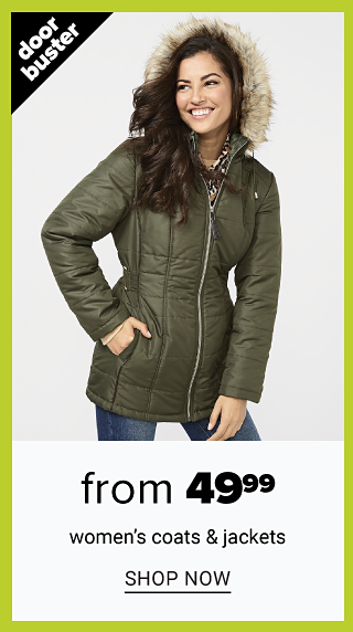 A woman wearing an olive green parka & blue jeans. Doorbuster. From $49.99 women's coats & jackets. Shop now.