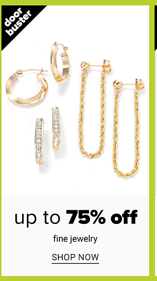 An assortment of silver & diamond earrings, gold hoop earrings & gold chain earrings. Doorbuster. Up to 75% off fine jewelry. Shop now.