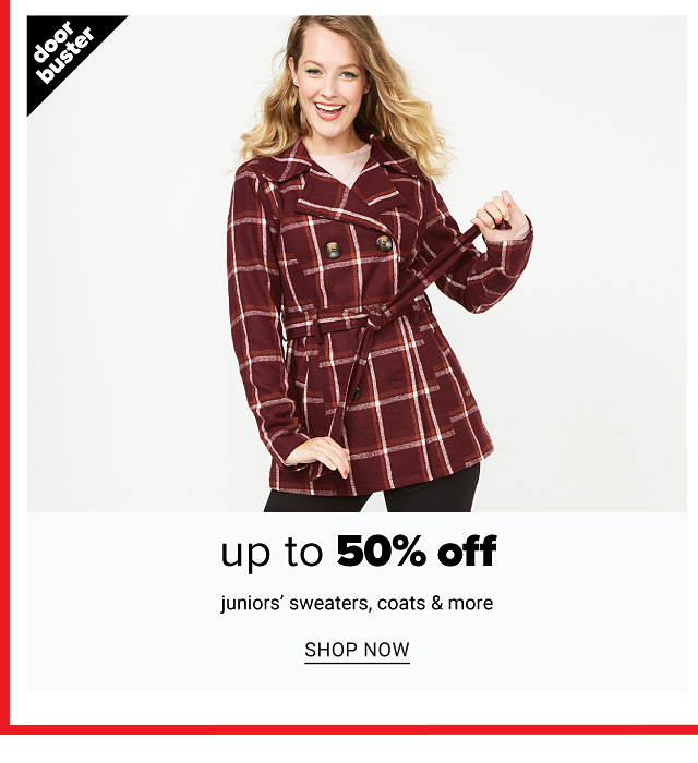 A woman wearing a black, red & white plaid pea coat. Doorbuster. Up to 50% off juniors sweaters, coats & more. Shop now.