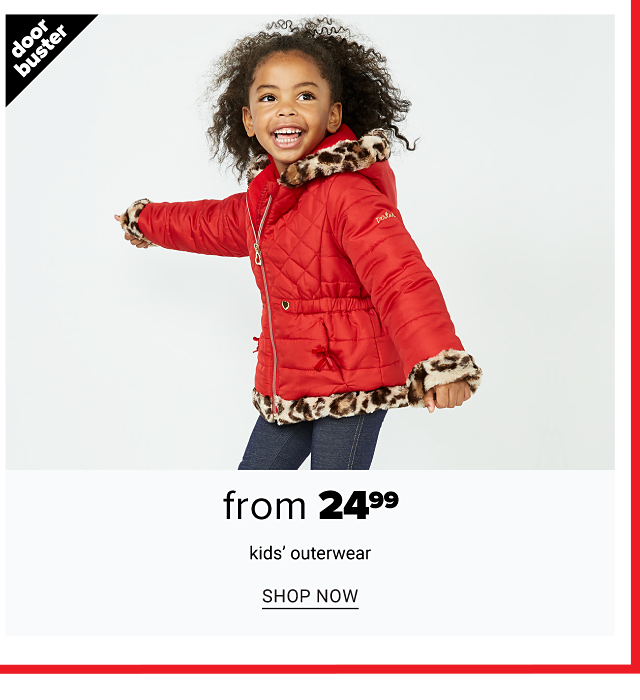 A girl wearing a red parka with leopard print terim & blue jeans. Doorbuster. From $24.99 kids' outerwear. Shop now.