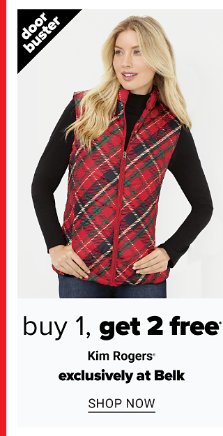 A woman wearing a red, green, black & white plaid fleece vest over a black sweater & blue jeans. Doorbuster. Buy 1, Get 2 FRee Kim Rogers. Exclusively at Belk. Shop now.