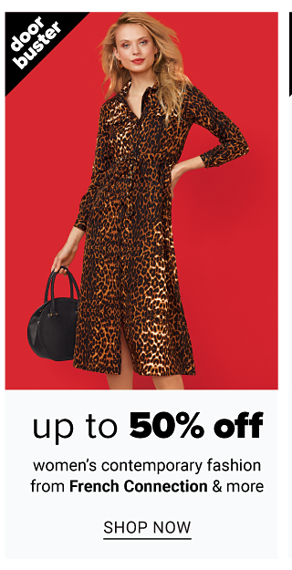 A woman wearing a leopard print long sleeved dress carrying a round black handbag. Doorbuster. Up to 50% off women's contemporary fashion from French Connection & more. Shop now.