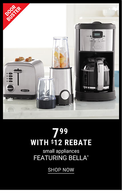 A silver metal toaster, a silver metal food processor & a silver metal & black coffee maker. DoorBuster. $7.99 with $12 rebate small appliances featuring Bella. Shop now.