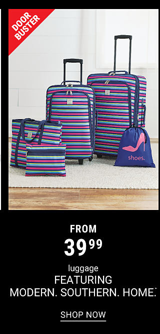 A 5 piece fuschia, blue & teal horizontal striped luggage set. DoorBuster. From $39.99 luggage featuring Modern Southern Home. Shop now.