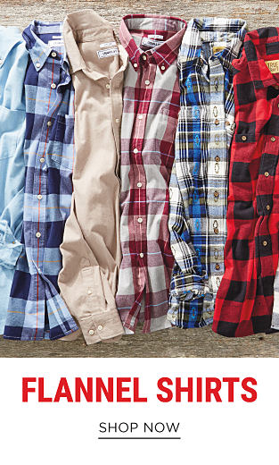 An assortment of men's plaid flannel shirts in a variety of colors. Shop flannel shirts.