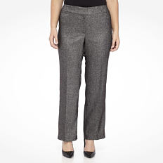 A woman wearing a black T shirt, gray pants & black flats. Shop pants.