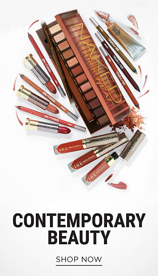 An assortment of Urban Decay beauty products. Contemporary Beauty. Shop now.