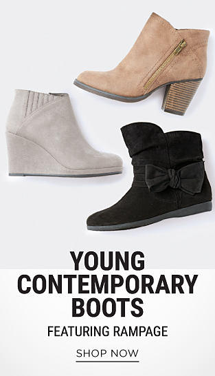 A gray suede women's boot. A beige suede women's boot. A black suede women's boot. Young Contemporary Boots featuring Rampage. Shop now.